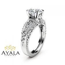 moissanite vintage engagement rings white gold moissanite engagement ring 2 carat moissanite ring