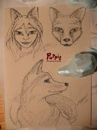 w i p firefox bjd fox head base and sketches by