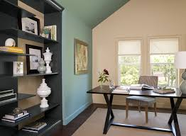 living room cozy home office with blue paint color scheme love
