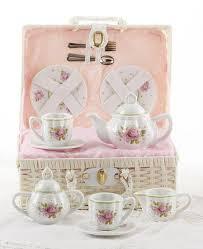 roses tea set childrens porcelain tea set in wicker style baskets free