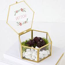 keepsake box personalized keepsake box floral design gold frame hexagon glass personalized
