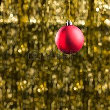 Red Gold And Purple Christmas Tree - purple christmas bauble ornament over gold glitter background