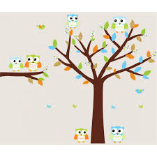 colorful owl wall decal with tree decals for boys