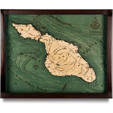 california map framed island wood map 3d nautical topographic chart framed
