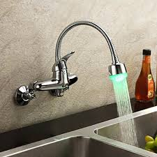 wall faucet kitchen chrome finish single handle color changing led wall mount