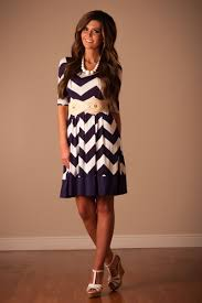 navy white chevron modest dress affordable modest boutique