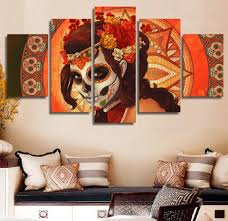 day of the dead 5 piece canvas wall art print home room decor dia