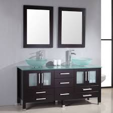 All Wood Bathroom Vanities by Bathroom Bathroom Double Green Tempered Glass Vessel Sink On