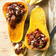 butternut squash filled with port soaked fruit