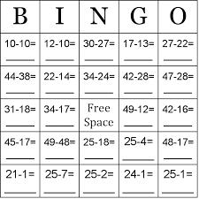 subtraction using numbers between 10 50 bingo cards