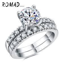 ring sets luxury bridal wedding ring set white gold color cz simulated