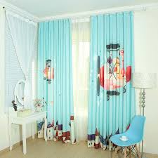 baby blue cartoon patterned cotton kids room nursery curtains