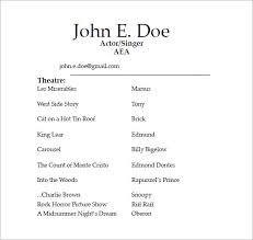 Resume Template For Actors by Easy Actor Resume Template With Additional Actor Resume Template