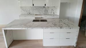 carrara marble kitchen and island bench installation marble