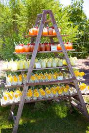 wedding arch ladder upon arrival guests were served lunch and cold drinks that were