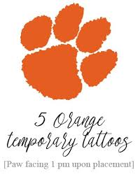tiger paw temporary solid orange set of 5 tigers