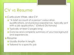 Cv Curriculum Vitae Vs Resume Curriculum Vitae Cv Vs Resume Quick Comparison Cv Vs Resume