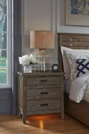 rustic weathered gray nightstand with built in nightlight and