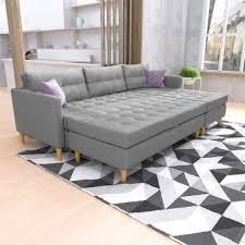 canapé mistergooddeal copenhague canapé d angle réversible avec le pouf et les pieds en