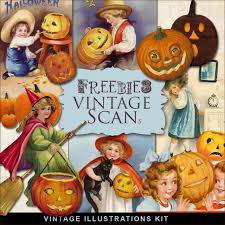vintage halloween scrap set vector graphics blog