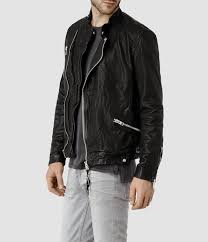 leather biker jackets for sale allsaints drayton leather biker jacket in black for men lyst