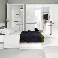 White High Gloss Bedroom Furniture Uk White High Gloss 2 Door Wardrobe With Oak Finish Trim Homegenies
