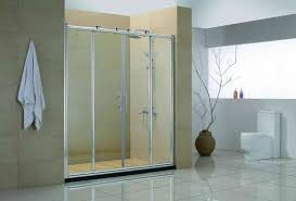 four sliding glass door with silver steel frame and handlers