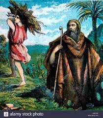 bible stories illustration of isaac carrying the wood up the