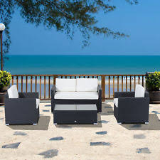 Sectional Patio Furniture Sets Outsunny 4 Cushioned Outdoor Rattan Wicker Sofa Sectional