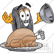 clip graphic of a tire character serving a thanksgiving turkey