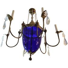 Vintage Crystal Chandelier For Sale Vintage Cobalt Blue Glass And Brass Chandelier For Sale At 1stdibs