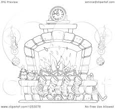 clipart of a black and white christmas fireplace with candles and