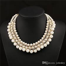 big necklace sets images Multilayer big imitation pearl necklace women chunky luxury bubble jpg