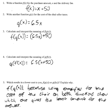 Inverse Functions Worksheet Answers Furniture Purchase Students Are Asked To Write Two Explicit