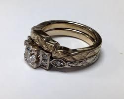 deco wedding band deco engagement ring wedding band rosestone jewelry