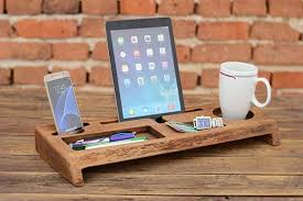 Wooden Desk Organizers Handmade Wooden Desk Organizer With Tablet And Phone Holders