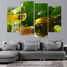 canvas painting 4 piece canvas art wine drink grapes leaves hd