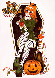 free halloween red hair witch images on white background harvest magic wall print 8x10 by steelgoddess on etsy halloween