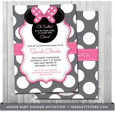 cute baby minnie mouse baby shower invitation card saflly free