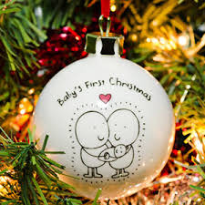 Baby S First Christmas Silver Bauble by Personalised Christmas Baubles I Just Love It