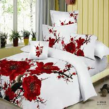 red plum blossom bedding set 3d bedsheets cotton king queen size