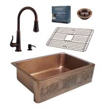 all in one kitchen sinks kitchen the home depot pfister all in one ganku copper farmhouse 33 in kitchen sink design kit