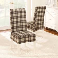 Dining Room Chair Fabric Seat Covers Elasticated Plaid Patterned Fabric Dining Chair Covers Seat As