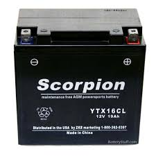 yt16cl battery scorpion 12 volt motorcycle batteries