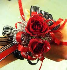 prom wrist corsage ideas wrist corsage of roses with silver glitter accents with