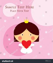cute little princess angel birthday greeting stock vector 50192071