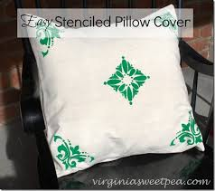 easy stenciled pillow cover sweet pea