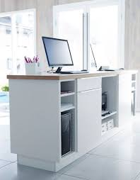 Flat Pack Reception Desk White Kitchen Cabinets With Doors Drawers And Worktop Used As A