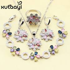 accessories ring necklace images Xutaayi 925 sterling silver jewelry set flower colorful multicolor jpg