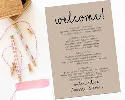 wedding itinerary for guests welcome letter wedding itinerary printable by modernsoiree on zibbet